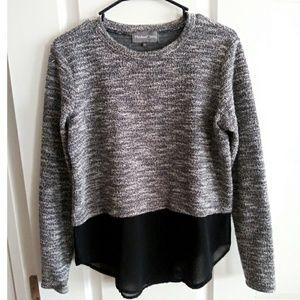 Michael Stars S Boucle sweater with chiffon Trim!